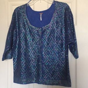 Free people blue sequin cardigan